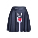 Summer Hot Stylish High Waist Cat Print Pleated Mini Black Skater Skirt for Women