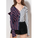Womens Hot Popular Patch Striped Print V Neck Cutout Button Front Long Sleeve Asymmetric Hem Casual Loose Shirts