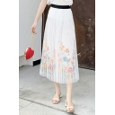Summer Hot Fashion High Waist Plain Chiffon Floral Embroidered Midi Pleated Dress