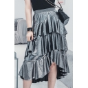 Womens Hot Stylish Sliver High Waist Layer Ruffle Hem A-Line Midi Flare Skirt