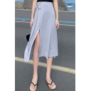 New Arrival Womens Hot Fashion Bow Side Plain High Waist Casual Loose Midi Beach Skirt
