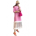 Womens New Trendy Oversize Short Sleeve Polka Dot Print Mesh Hem Patch Midi T-Shirt Dress