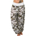 Stylish Womens Cool Unique High Waist Star Printed Loose Bloomer Cargo Pants