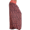 Womens Hot Trendy Elastic Waist Plain Tribal Printed Loose Bloomer Pants