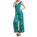 Womens Hot Trendy Straps V Neck Sleeveless Tie Shoulder Phoenix Plum Blossom Printed Green Jumpsuits