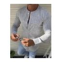 Mens Hot Popular Simple Plain Collarless Long Sleeve Button Front Fitted Linen Shirt