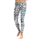 New Trendy Halloween Elastic Waist Skull Printed Colorblock Shaped Fit Legging Pants