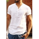 Mens Popular Simple Plain Short Sleeve Stand Collar Button Front Loose Linen Shirt