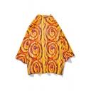 Mens Summer Cool Unique Yellow Stripe Print Three-Quarter Sleeve Casual Kimono Blouse