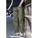 Guys Simple Fashion Solid Color Cotton Casual Straight Wide Leg Pants