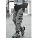 Men's New Fashion Letter Printed Drawstring Waist Casual Loose Multi-pocket Cargo Pants