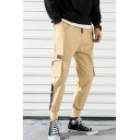 Men's Street Trendy Letter Printed Tape Side Drawstring Waist Casual Multi-pocket Cargo Pants