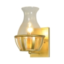 1 Light Candle Sconce Light with Vase Shade Traditional Bubble Glass Wall Light in Gold for Bedroom