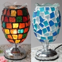 Stained Glass Goblet Table Light 1 Head Mosaic Night Light in Blue/Colorful for Study Room