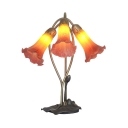 Glass Morning Glory Table Light Study Room 3 Heads Creative Pretty Table Lamp in Pink