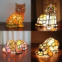 Cute Tiffany Cat/Doggy Night Light Single Light Stained Glass Desk Light for Child Bedroom