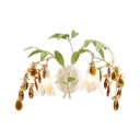 White Flower Wall Light 2 Lights Rustic Style Frosted Glass Sconce Light with Amber Crystal & Leaf for Cafe