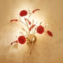 Rustic Style Flower Wall Sconce 3 Heads Ceramics Sconce Light in Red for Restaurant Hotel