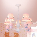Cartoon Bunny Suspension Light Resin 3/5/6 Lights Pink Chandelier with Fabric Shade for Girls Bedroom