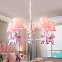 Horse Child Bedroom Suspension Light Resin 3/5 Heads Modern Lovely LED Chandelier in Blue/Pink