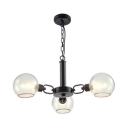3/6 Heads Globe Hanging Light Contemporary Clear Glass Chandelier in Black/Gold/White for Foyer