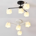 Lovely Star Shade Chandelier Opal Glass 4 Lights Black/White Hanging Light for Child Bedroom