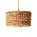 Beige Drum Shape Hanging Lamp 1 Bulb Rustic Style Rattan Pendant Light for Cafe Restaurant