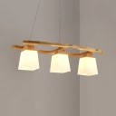 Modern Style Craftsman Pendant Light Frosted Glass 3 Heads White Island Lamp for Study Room