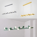 6/8/10 Lights Linear Island Lamp Macaron Loft Metal Island Light in Gray/Green/Yellow for Coffee Shop