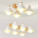 White Domed Island Light 4/6 Lights Nordic Macaron Metal Island Pendant for Living Room