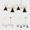 Metal Antlers Island Light Dining Room 4 Lights Modern Nordic Island Lamp in Black/Gray/White