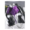 Trendy Simple Letter NOSUPONE Print Color Block Stand Collar Zipper Front Loose Track Jacket