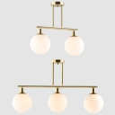Sphere Dining Room Island Light Milk Glass 2/3 Lights Simple Style Island Lamp in Gold Finish