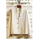 Retro Chinese Style Simple Plain Frog Button Front Long Sleeve Linen Cardigan Coat Jacket
