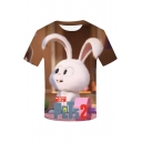 Funny Cartoon Comic Character 3D Printed Round Neck Short Sleeve T-Shirt