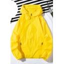 Summer Guys Cool Letter Print Back Long Sleeve Hooded Zip Up Sun Protection Skin Jacket Coat