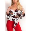 Summer Chic Floral Pattern Surplice V-Neck Long Sleeve Bow-Tied Waist Blouse for Women