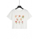 Summer Hot Popular Letter Floral Pattern Short Sleeve White Cropped Tee