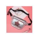 Lovely Sequined Star Patched Laser Waist Belt Bag for Girls 16*33 CM