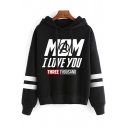 Stylish Letter MOM I LOVE YOU Pattern Striped Long Sleeve Casual Loose Hoodie