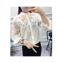 Chic Simple Floral Embroidery Long Sleeve Button Down Casual Shirt Blouse