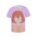 Popular Comic Girl 3D Pattern Round Neck Short Sleeve Purple T-Shirt