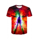 Cool Colorful Figure Painting Printed Basic Round Neck Short Sleeve Red T-Shirt