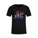 Cool Independence Day Flag Printed Basic Black Short Sleeve T-Shirt