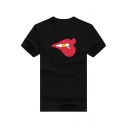 Cool Unique Red Lip Printed Round Neck Short Sleeve Cotton Relaxed T-Shirt