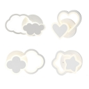 Modern White LED Sconce Light Cloud/Flower/Heart/Star Acrylic Wall Lamp in Warm/White for Kindergarten