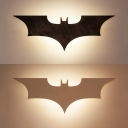 Cool Bat LED Wall Light Cartoon Wood Sconce Light in Black for Boys Bedroom Living Room