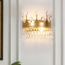 Hotel Restaurant Crown Wall Light Metal 2 Heads Elegant Stylish Gold Sconce Light with Crystal Deco