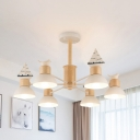 Nordic Style Ship Chandelier 3/6 Heads Wood Ceilng Pendant in Black/White for Dining Room Boys Bedroom