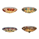 Antique Style Tiffany Ceiling Lamp with Bead/Dragonfly/Flower/Peacock 3 Bulbs Shell Flush Mount Light for Hallway